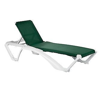 Resol 2 Piece Marina Garden Sun Lounger Bed Set - Adjustable Reclining Outdoor Patio Canvas Furniture - Green
