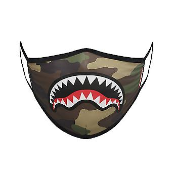 Sprayground Camo Shark Mouth Mask - Khaki
