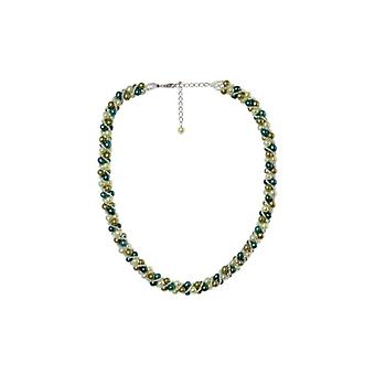 Silver necklace and green cultured pearls - Apos;Attraction;