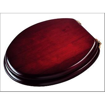 Croydex Toilet Seat Standard Mahogany Brass WL515202