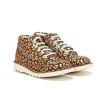 Kickers Kick Hi Leopard Junior Brown / Gold Boots