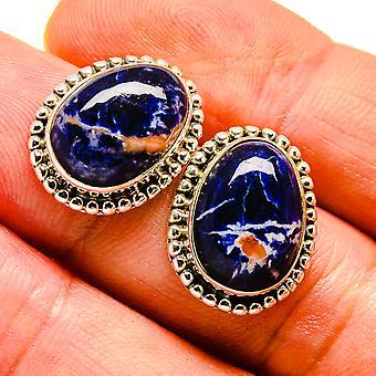 """Sodalite Earrings 3/4"""" (925 Sterling Silver)  - Handmade Boho Vintage Jewelry EARR408066"""