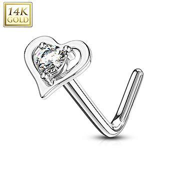 Anel de nariz l-bend com pino definido rodada cz centro coração oco 14kt ouro maciço 20g