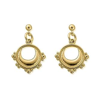ChloBo GEST4006 Women's Gold Tone Half Moon Drop Earrings
