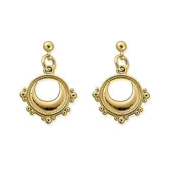 ChloBo GEST4006 Women's Gold Tone Half Moon Drop Brincos