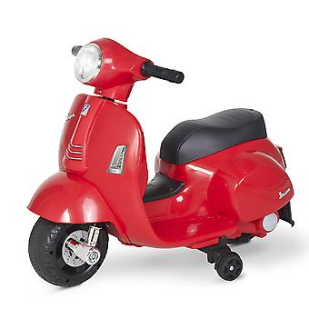 HOMCOM Compatible Kids Ride On Motorcycle Vespa Licensed 6V Battery Powered Electric Trike Toys for 18-36 Months with Horn Headlight Red