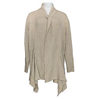 Isaac Mizrahi Live! Women's Sweater Shawl Collar Cardigan Beige A344321