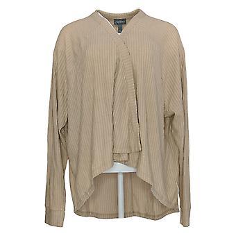 Anybody Women's Sweater Long Sleeve Cardigan W/ Henley Front Beige A310154