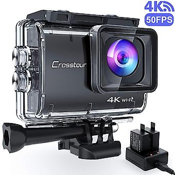 Crosstour upgraded 4k/50fps action camera real 4k 20mp wifi underwater cam 40m with eis anti-shake t