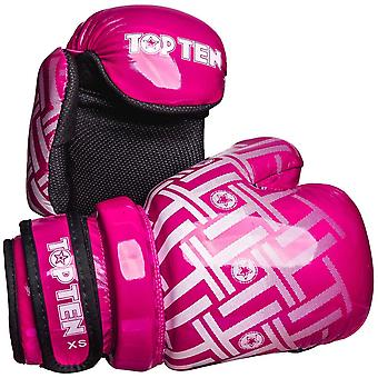 Top Ten Superlight Prism Glossy Pointfighter Guantes Rosa/Blanco