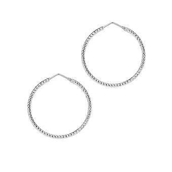 The Hoop Station Roma Diamond-Cut Silver 35 Mm Hoop Earrings H102S