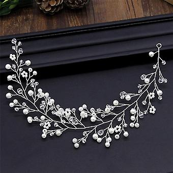 Simulated Pearl Bride Wedding Headpieces Hair Jewelry (sliver)