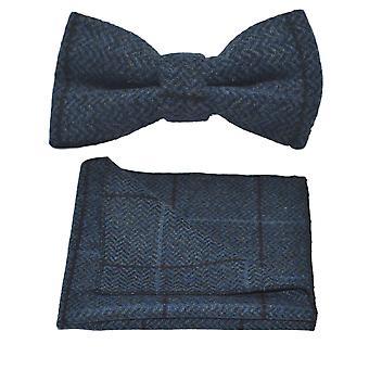Aegean Blue Herringbone Check Bow Tie & Set quadrato tascabile