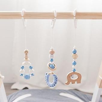 3pcs/set Baby Rattles Wooden Beads Pendant Hanging Decor
