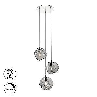Schuller Petra - Anhänger Licht Cluster Drop, Chrom, Rauch, 3x E27