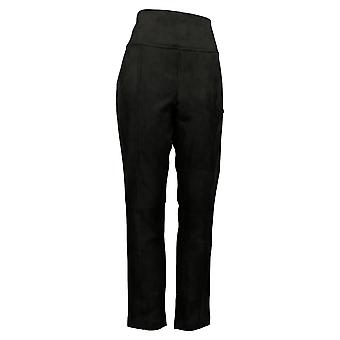 Andrew Marc Women's Pants Ankle Length Faux Suede Black Pull On