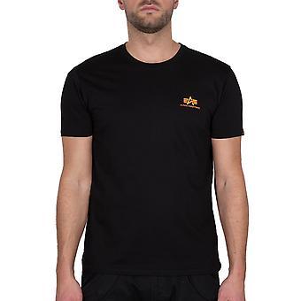 Alpha Industries Heren T-Shirt Basic T Klein Logo Neon Print