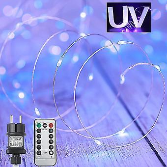 FengChun UV Schwarzlicht 15M 150 LEDs LED Licheterkette Wasserdicht Auen mit Fernbedienung Timer,