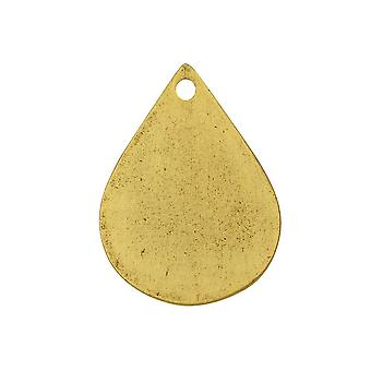 Final Sale - Flat Tag Pendant, Drop 18x25mm, Antiqued Gold, 1 Piece, by Nunn Design