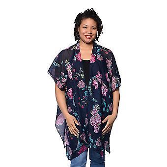 Black Floral Printed Kimono Size 85x95cm