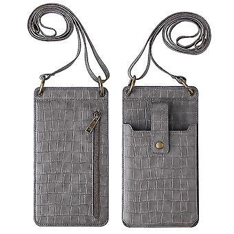 Harmaa naiset krokotiili kuvio puhelin kukkaro kortin haltija lompakko crossbody laukku cai1072