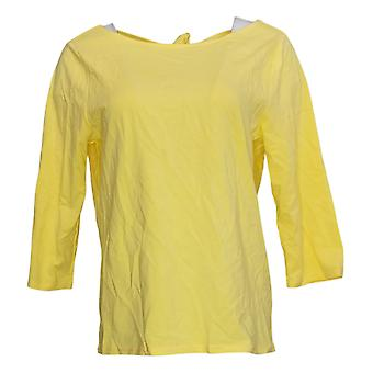 We By Living In Yellow Women's Top Keyhole Tied Bow Back Top Yellow 733761