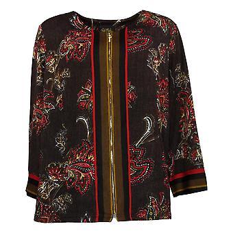 Bob Mackie Women's Jacket Reg Paisley Print Black A365888