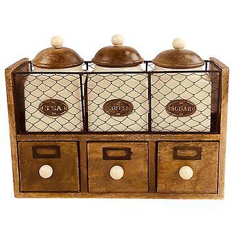 Puinen kaappi, jossa 3 purkkia & laatikkoa