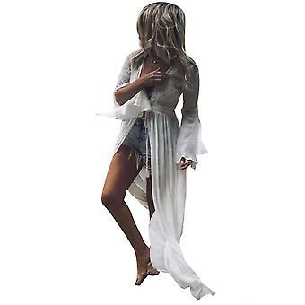 Rückenlose Beachwear Cardigan Flared Ärmel lange Bikini Vertuschen