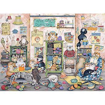 Ravensburger Crazy Cats Vintage Neule yksi, Purrl yksi Palapeli (500 Kappaletta)