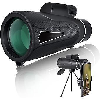 10X50 HD تلسكوب أحادي الشكل تلسكوب الهاتف الخليوي مع المحمولة ترايبود قوس FMC BAK4 للماء لتصوير الكرة لعبة الحفل الطيور مشاهدة السفر التسلق،(أسود)