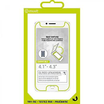 Muvit 1 Universal Tempered Glass Film With Cutting Button 4.1 To 4.3
