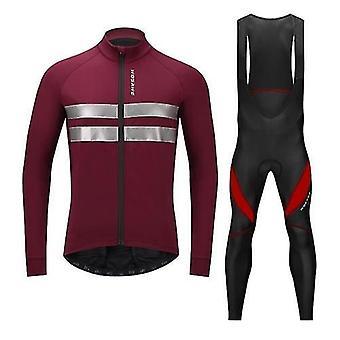 دراجة الدراجة البلوزات الرجال ركوب الدراجات جيرسي تعيين الملابس طويلة الأكمام الحرارية الصوف سترة الشتاء و3D مبطن السراويل المريلة الجوارب