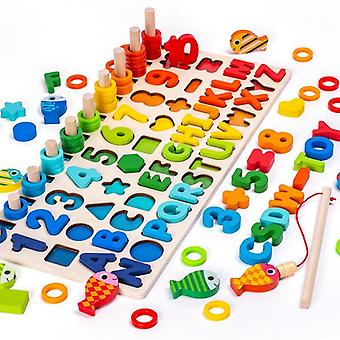 3D Wooden Toys  Magnetic Fishing Digital Shape Matching Blocks Educational Toys For  Toys