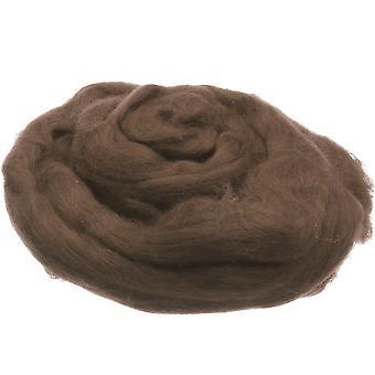 100% Ren ny ull för nålfilt, 50g - Medium Brown