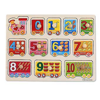 Digital train Children's wooden building block puzzle(30*22.5*0.6cm)