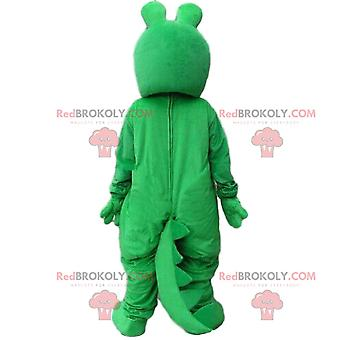 Mascot REDBROKOLY.COM green and yellow crocodile, alligator costume