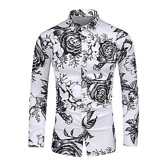 Mile Mens Floral Print Shirt Long Sleeve Casual Button Down Funky Flower Shirts