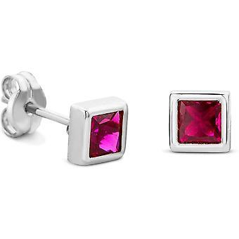 HS Johnson HSJ-UL1500 Women's 9ct White Gold Ruby Stud Earrings