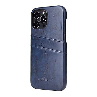 Para iPhone 13 Pro Case Deluxe Leather Wallet Back Shell Slim Cover Azul