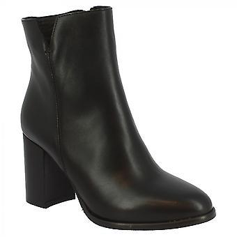Leonardo Shoes Naisten käsintehdyn kantapään nilkkasaappaat mustassa vasikannahassa sivuvetoketjulla