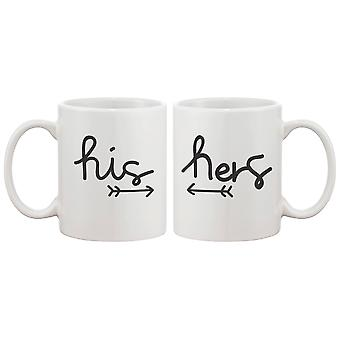 Arrow His And Hers Matching Couple Mugs - Perfect Wedding, Engagement, Anniversary, and Valentines Day Gift for Newlywed