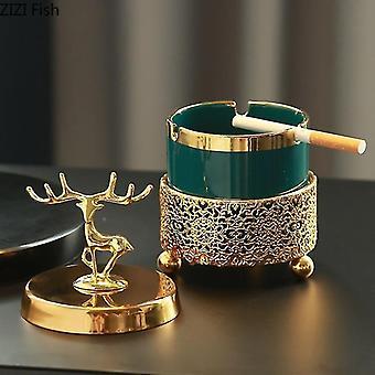Ashtrays ashtray with lid decoration living room elk gold frame emerald ceramic ashtray christmas gift for boyfriend