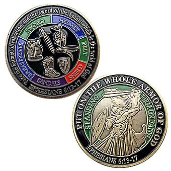 American Armor Warrior Blue Bronze Painted Commemorative Coin Collection Knight Geprägte Münze Gedenkmedaille