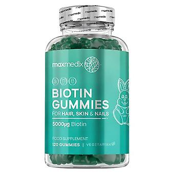 Biotin Gummies For Hair, Skin & Nails - Chewable Beauty Supplement With Vitamins - 120 Gummies