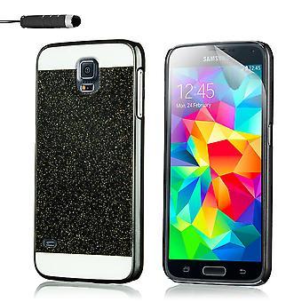 Glitzer Case für Samsung Galaxy S5 SM-G900 + Stift - schwarz