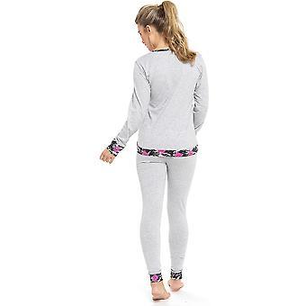 Ladies Tom Franks Summer Floral Camo Print Long Sleeve Pyjama Set Sleepwear 20-22 Grey With CamoTrim