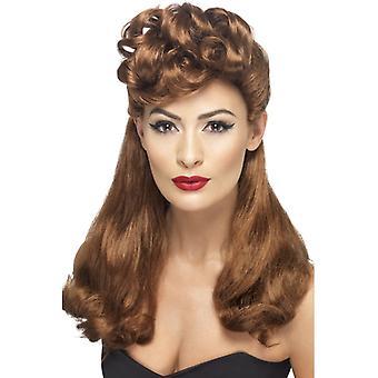 40s vintage pruik lang Maroon top met krullen