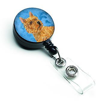 Kołowrotek chowany odznaka Norwich Terrier lub identyfikator uchwyt z klipu SS4775