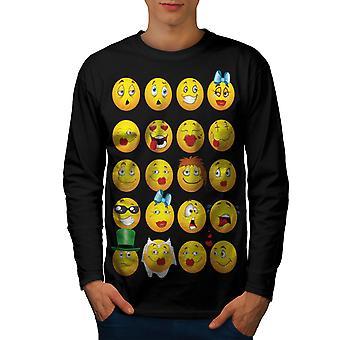 顔文字クールジョークフェニーメンブラックロングスリーブTシャツ|ウェルコダ
